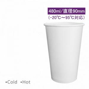CA16058【hot&cold対応 16oz/480ml 紙コップ-ホワイト PE両面コーティング加工】1箱1000個/1袋50個