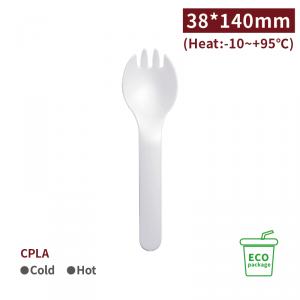 《受注生産》 KI14006【エコ 先割れスプーン CPLA - 白】140*38mm  - 1箱1000個 / 1袋50個