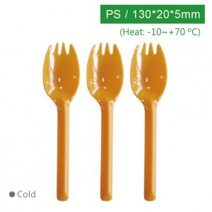 KI13507【130フォークスプーン-オレンジ】PS 130*20*5mm - 1箱2000個